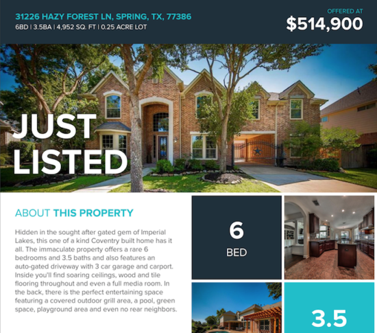 just listed list report flyer