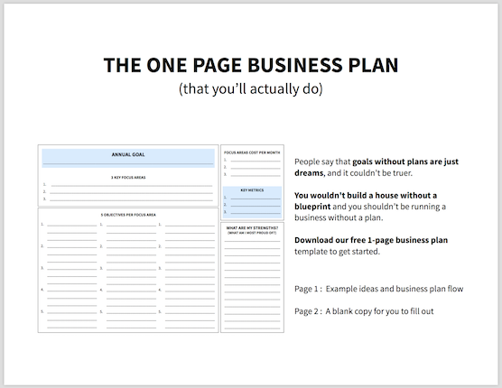 Simple Effective One Page Business Plan