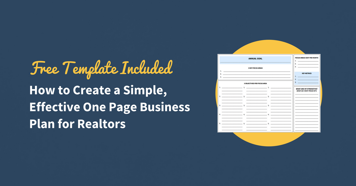 How To Create A Simple Effective OnePage Business Plan For - Realtor business plan template