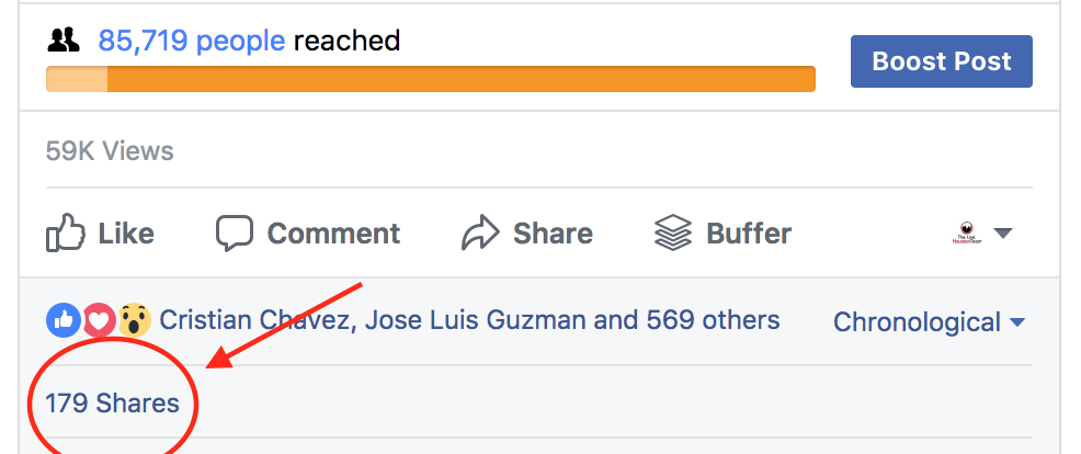 boosted facebook post results